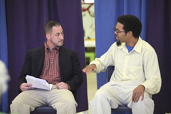 "In one scene Lee Gough (right), as a relapsed criminal, tries to get Chris ""Stretch"" Melton (left) to sell drugs again for him. - VIRGINIA LEE HUNTER"