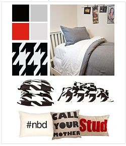 "The Stud collection, Dormify's first decorating scheme aimed at guys. The ""Call Your Mother"" pillow is a big seller. - DORMIFY.COM"