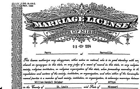 Sample Missouri marriage license. - VIA