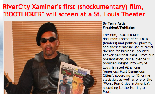 Screenshot of Terry Artis' website where he is promoting the film. - VIA RIVERCITYEXAMINER.COM