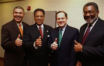 "Thumbs up! The powers that be were all smiles back in March when U.S. Rep. William ""Lacy"" Clay brought home $536,000 to create summer jobs. From left: Congressman Clay; Henry Givens, president of Harris-Stowe State University; St. Louis Mayor Francis Slay; and Tom Jones, executive director of SLATE."
