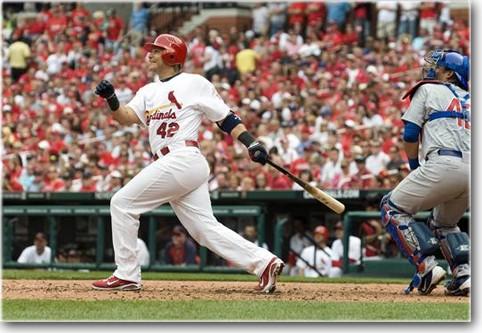 Cardinals catcher Yadier Molina sporting 42 at Busch Stadium on Jackie Robinson Day 2012