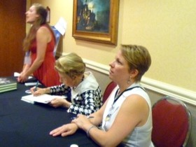 Phyllis Schlafly and her niece Suzanne Venker sign copies of their new book, The Flipside of Feminism.