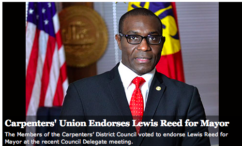 The Carpenters Union has endorsed Reed in the race for mayor. - VIA CARPDC.ORG