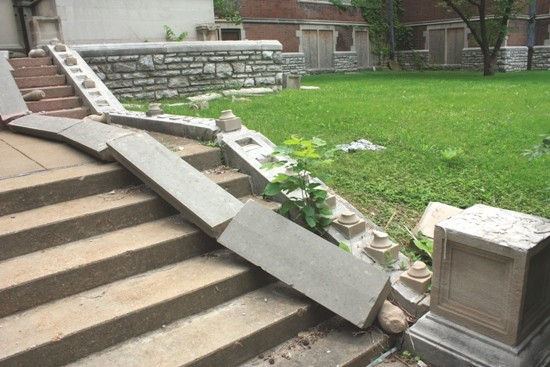 The front steps of Central High School, showing recent vandalism.