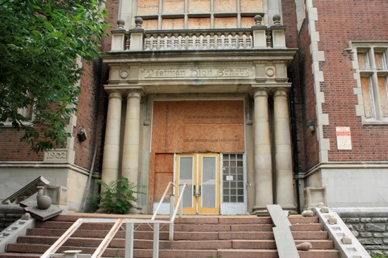 Vacant and boarded up, Central High School awaits a new owner.