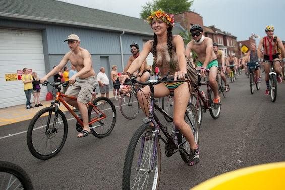 The 2014 World Naked Bike Ride in St. Louis. - JON GITCHOFF