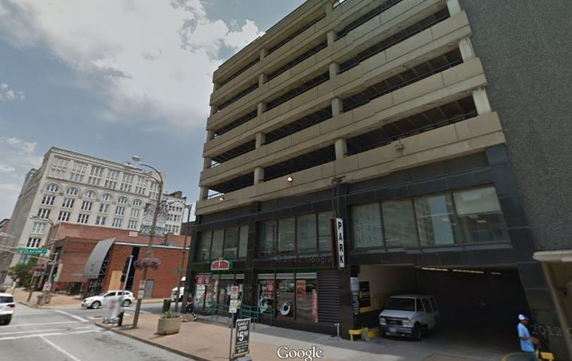 A concrete parking garage riding a Papa John's --  isn't urban architecture great? - GOOGLE MAPS