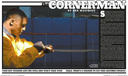 "The opening spread from RFT's 2005 profile featuring ""Alexander the Great."""
