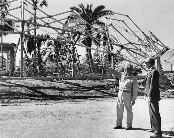 Foreman Albert Daufenbeck (left) and architect Eugene Mackey discuss construction of the Missouri Botanical Garden's Climatron in 1959.