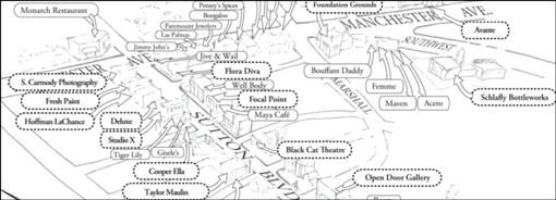 A partial map of the Maplewood Arts Walk.