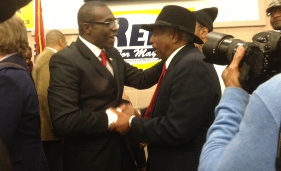 Lewis Reed greets supporters after his speech. - SAM LEVIN