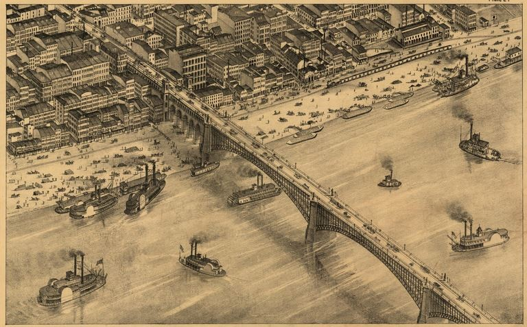 The Eads Bridge, as recorded in the equivalent of the 1875 version of Google Maps. - VIA