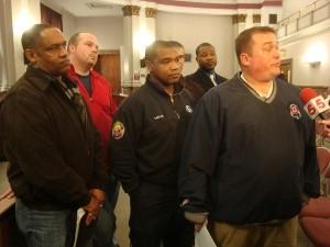 President Chris Molitor and other union members after the committee hearing.