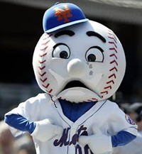 Mr. Met has reason to be sad this year.