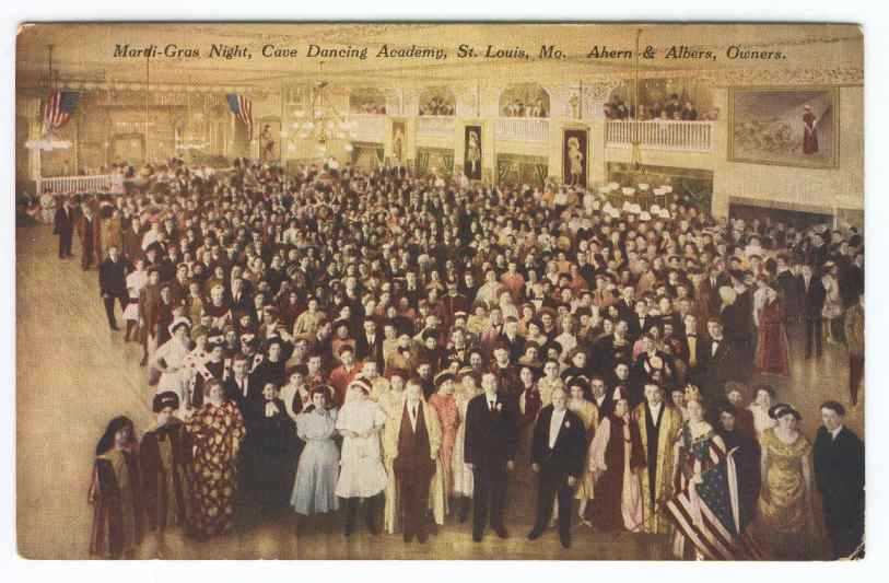 A 1910 postcard from a Mardi Gras party in the Castle Ballroom. - USGENNET
