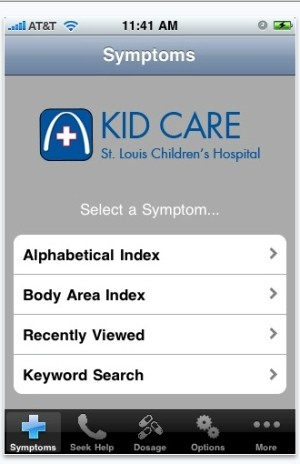 Kid Care app allows parents to diagnose illness via the iPhone.