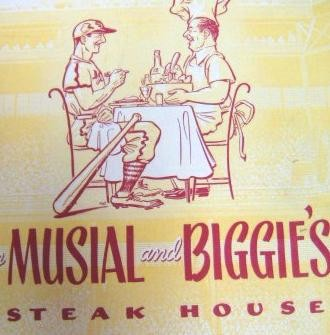 Stan Musial and Biggie's is no longer, but mementos such as this menu from stlouismemorabilia.com abound online. (None featuring a likeness of Wilt the Stilt.)