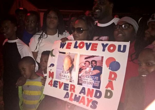 The family of Marcus Johnson held a candlelight vigil Sunday night to remember the slain six-year-old. - TWITTER VIA CHUCK_MODI