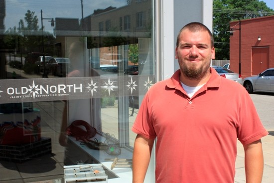 Matt Fernandez outside the offices of ONSLRG on the newly renovated 14th Street shopping district. - PHOTO BY CHRIS NAFFZIGER