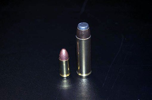 A 9mm round next to the .500 magnum. - PHOTO: MATT BLICKENSTAFF