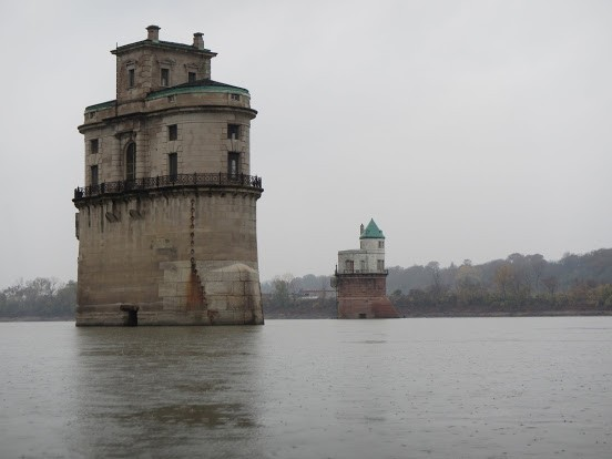 Some river castles. Just kidding! They are water intake towers built in the 1890s and we have no idea how they work.