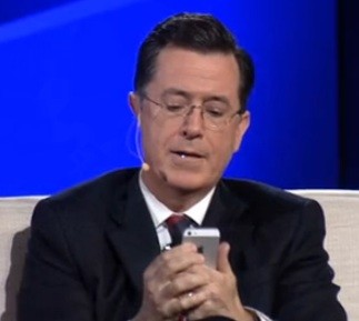Colbert sends Clinton's first tweet in St. Louis. - VIA HULU.COM