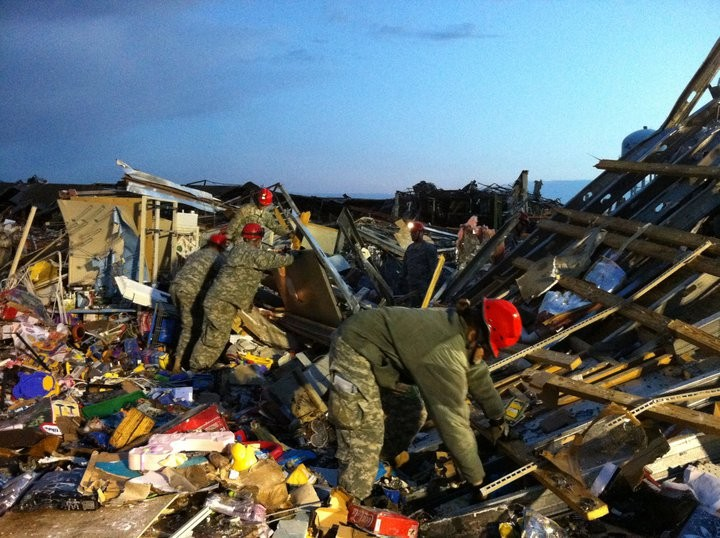 The Missouri National Guard, on the ground in Joplin. (It does kind of look like WW II, no?) - COURTESY OF THE NATIONAL GUARD BUREAU