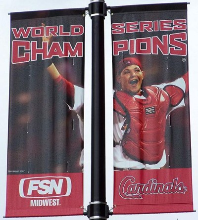 Molina featured on World Series banners outside Busch Stadium in 2007.