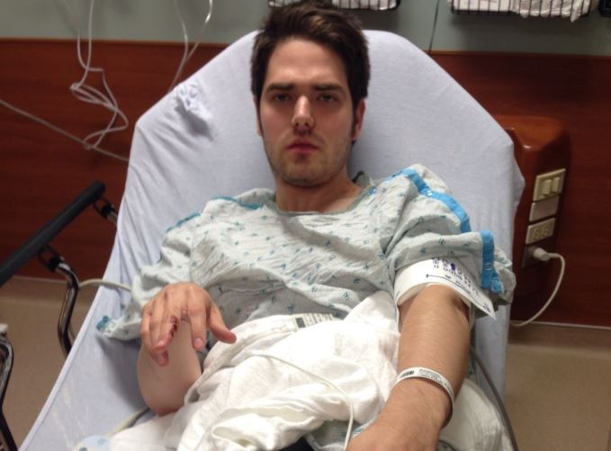 Chris Schaefer, photographed during his hospital stay after an alleged beating by fellow Ferguson activists. - COURTESY OF CHRIS SCHAEFER
