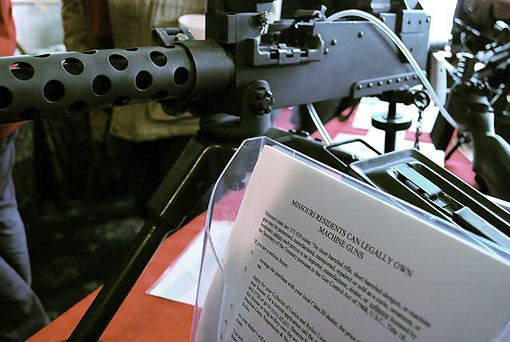 A .30 caliber machine gun on display with a handy little fact sheet detailing how Missouri residents can get their hands on some fully automatic machinery. - PHOTO: MATT BLICKENSTAFF