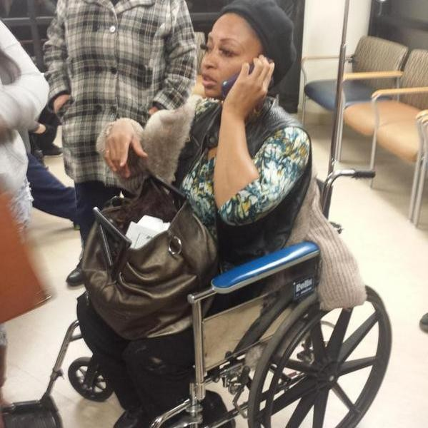 Theda Wilson at the hospital after an encounter with Kinloch Police. - TONY RICE