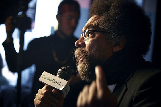 "Dr. Cornel West speaks at a five-hour #FergusonOctober event at Fubar on October 12, 2014. Dubbed ""Hip-Hop 4 Justice,"" the event also featured Dead Prez, Dr. Cornel West, Jasiri X and Talib Kweli. - STEVE TRUESDELL"