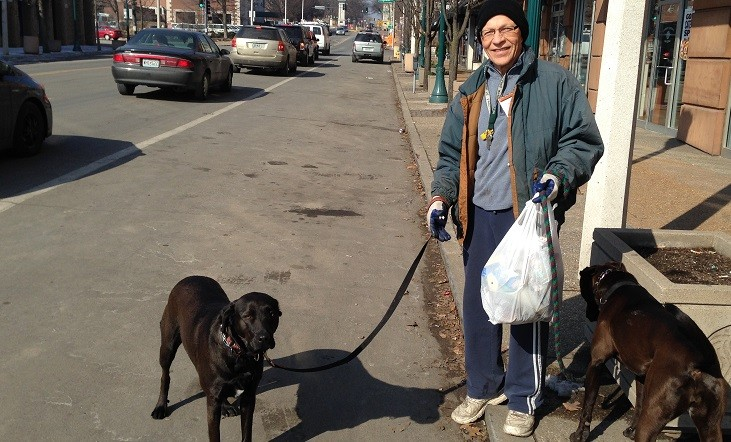 Bob Molitor spends hours a day walking and picking up trash in St. Louis. - PHOTOS: CHAD GARRISON