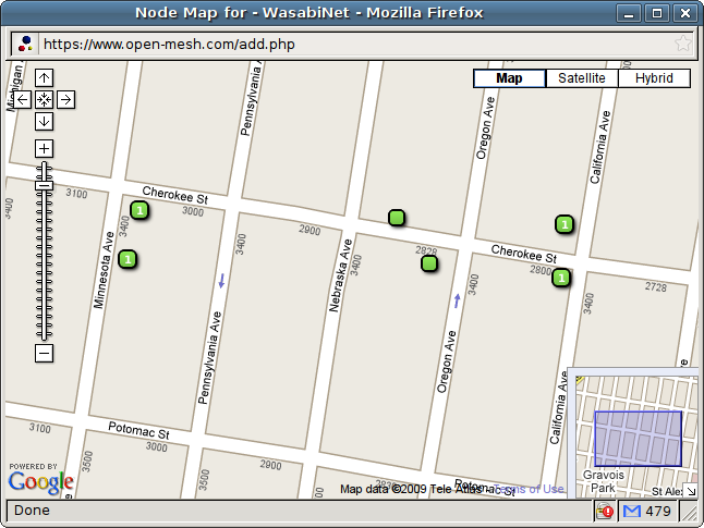 "A map of the current WiFi ""nodes"" on Cherokee Street's WasabiNet"