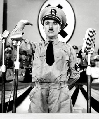 Charlie Chaplin ridiculed Adolf Hitler in his 1940 film, The Great Dictator. - UNITED ARTISTS