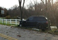 David Freese's wrecked Range Rover - VIA TWITTER @TULLMAN24