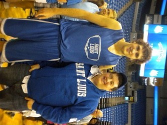 Gold with SLU forward, Rob Loe.