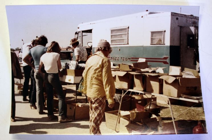 Francis Pfeiffer modified two trucks into book-mobiles, one of which is shown here parked at a flea market in the '70s. - FRANCIS PFEIFFER