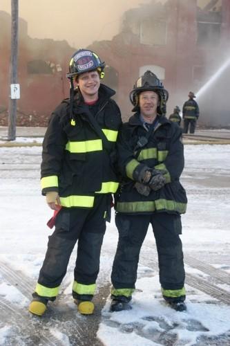 Ben Mazanec and his father at a fire. - COURTESY OF BEN MAZANEC