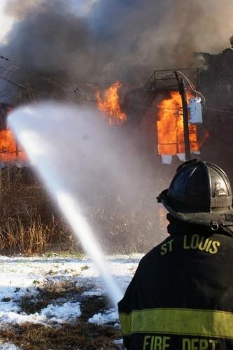 Ben Mazanec captures a firefighter at work.