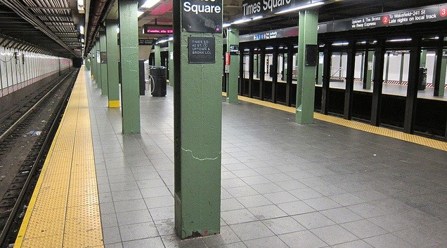Times Square subway platform, usually brimming with the masses (think a downtown parking lot, after a Rams game).