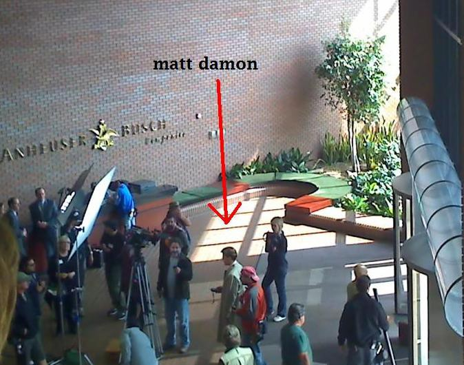 Matt Damon at A-B back in May, filming a scene for The Informant! - PHOTO VIA