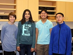 The members of the Clayton Plastic Bag Campaign (l-r): Ben Schneider, Claire Millett, Elise Yang and Victor Xie.