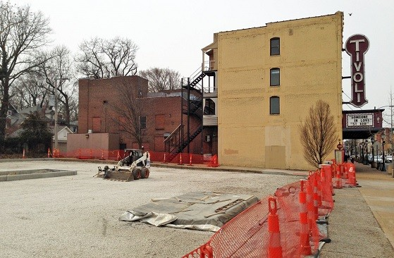The parking lot east of the Tivoli Theatre is scheduled to reopen next month.