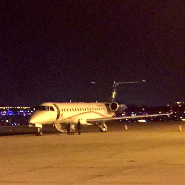 The plane that made an emergency landing in St. Louis while flying the Mississippi State men's basketball team home from Columbia. - GREGG ELLIS VIA TWITTER