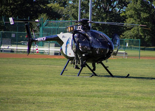 Police say people were shooting and firing lasers at police helicopters during Ferguson protests. - PAUL SABLEMAN ON FLICKR
