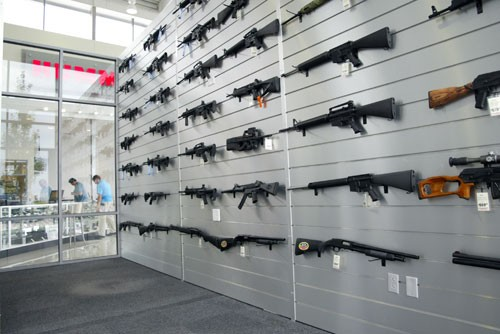 Guns for sale at Lynch Hummer in August 2009.