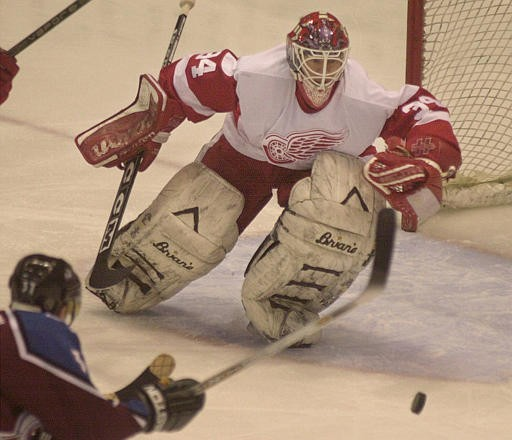 Legace from his days as a goalie who won games for Detroit while actually weating a Red Wings sweater - HOCKEYGOALIES.ORG