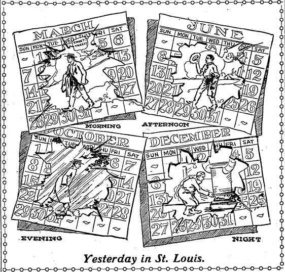 November 11, 1911, as depicted by a Post-Dispatch cartoonist. - COURTESY ST. LOUIS POST-DISPATCH
